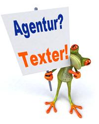 Frosch mit einem Schild mit der Aufschrift: Agentur? Texter!