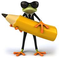 Illustration eines Frosches mit Sonnenbrille und einem riesigen Bleistift in der Hand