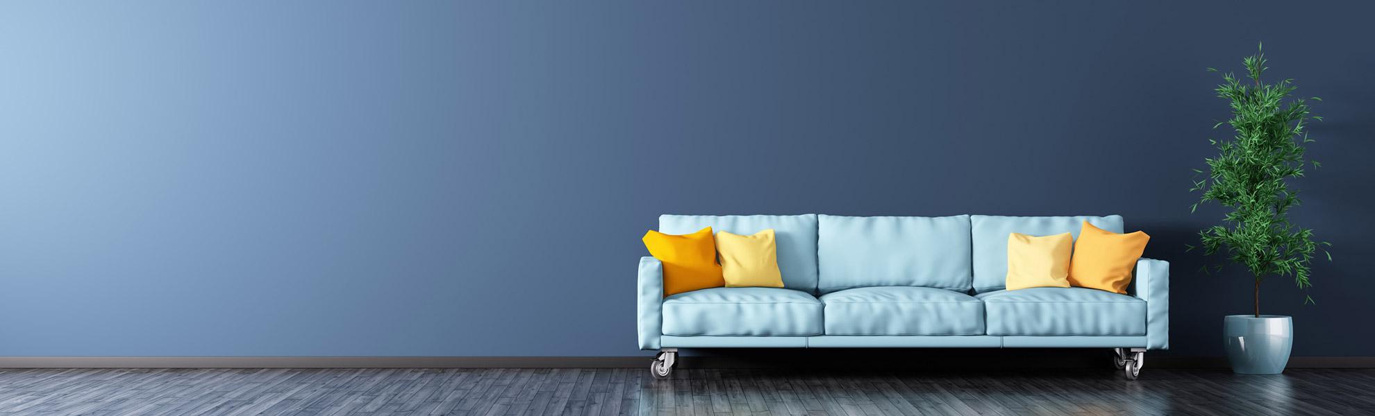Hintergrund des Headers der Startseite: Raum mit einem Sofa