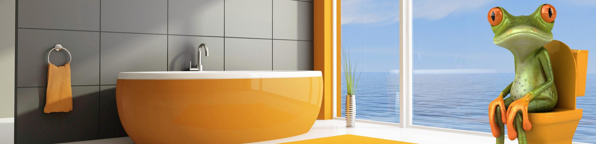 Ein Badezimmer mit Badewanne und Toilette auf der ein überraschter Frosch sitzt - Hintergrundbild des Sliders Impressum
