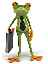 Illustration eines Froschs mit Krawatte und Aktenkoffer