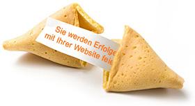 """Glückskeks mit der Botschaft """"Sie werden Erfolge mit Ihrer Website feiern"""""""