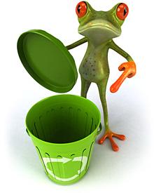Illustration eines Froschs, der auf eine geöffnete Mülltonne deutet