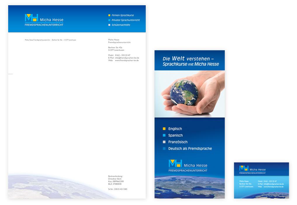 Briefpapier, Visitenkarte und Flyer als Geschäftsausstattung
