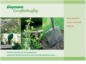 Titelseite einer Imagebroschüre für Grünflächenpflege