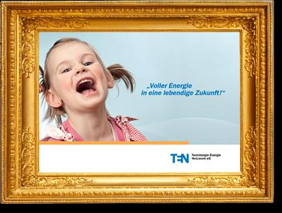 goldfarbener Bilderrahmen mit gerahmter Imagebroschüre - Element des Sliders der Seite Referenzen