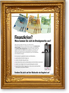 goldfarbener Bilderrahmen mit gerahmtem Werbebrief - Element des Sliders der Seite Referenzen