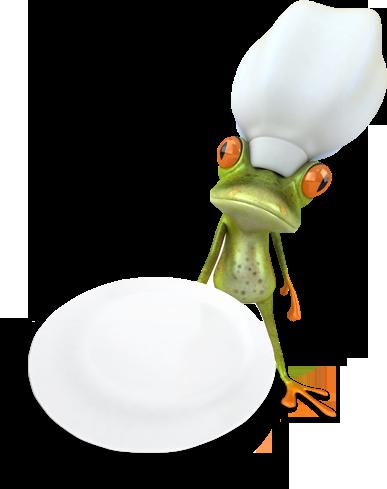 Illustration eines servierenden Froschs als Koch - Sliderelement der Seite Schätze