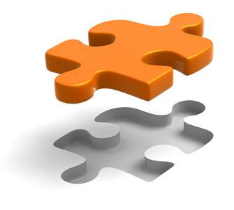 Darstellung eines orangefarbenen Puzzleteils - Dieser Texter passt!