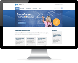 Monitor mit Website eines Energieversorgers