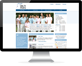 Monitor mit der Website einer Zahnarztpraxis