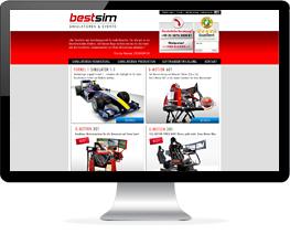 Monitor mit Website eines Unternehmens für Rennsimulatoren