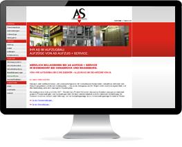 Monitor mit Website eines Aufzugherstellers