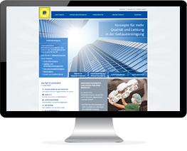 Monitor mit Website einer Gebäudereinigung