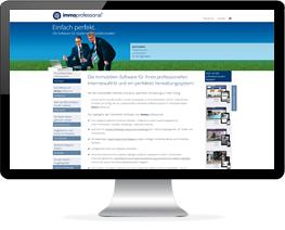 Monitor mit Website eines Unternehmens für Immobiliensoftware