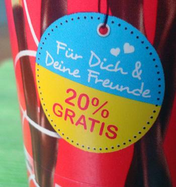 Schokoladenverpackung mit der Aufschrift: Für Dich & Deine Freunde - 20 % GRATIS