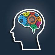 Illustration eines Kopfes mit Zahnrädern im Gehirn
