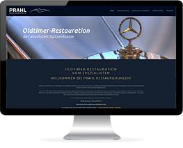 Monitor mit Website einer Oldtimer-Restauration