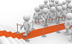 Illustration: Ein VIP auf dem roten Teppich wird von Zuschauern bestaunt
