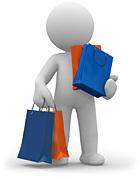 Illustration einer Figur, vollgepackt mit Einkaufstüten